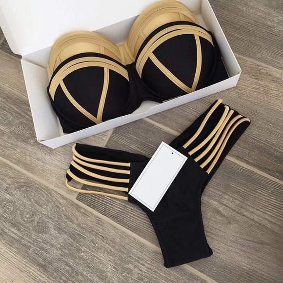 Black Gold Soul Bandeau Bikini Set - S/M/L/XL