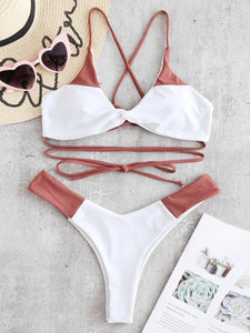 Crisscross Lace-up Two Tone Bikini - 2 Colors Available - S/M/L
