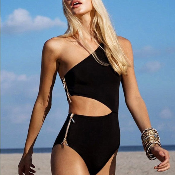 One shoulder High cut with Zipper Swimsuit - 3 Colors Available - S/M/L