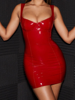 Bellelala丨Women Sexy Leather Latex Bodycon Mini Dress Faux Leather Club Party Dress