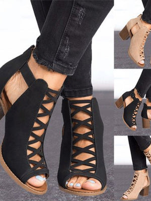 Fashion Hollow Out Heeled Sandals