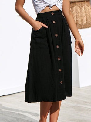 Women Solid Color Buckle Pocket Skirt