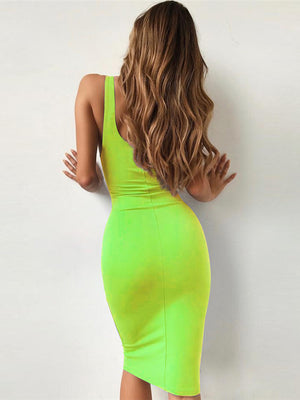 Solid Color Long Bodycon Party Dress