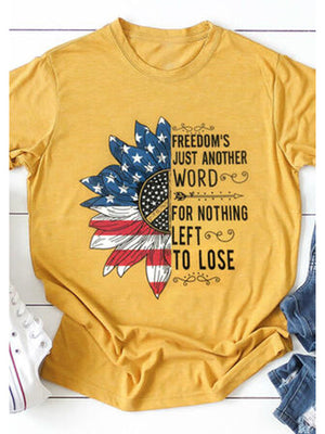 America Flag Printed T-shirt