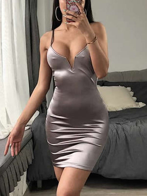 Deep V-Neck Solid Color Slim Dress