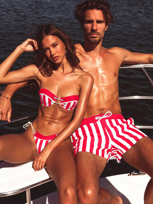Fashion Striped Couple Bikini Set