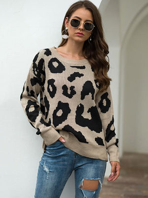 Women's Round Neck Loose Leopard Sweater - abbyou