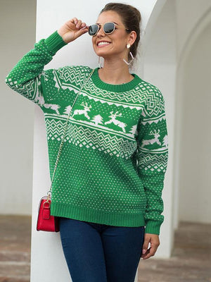 Round neck long sleeve pullover deer sweater - abbyou