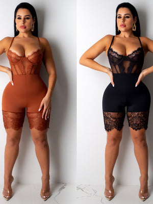 Mesh Lace Strappy Strapless Bodycon Jumpsuits