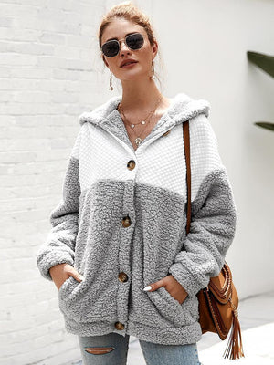 Autumn and winter long sleeve stitching hooded top sweater - abbyou