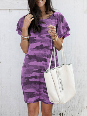 Round neck camouflage printed short-sleeved loose dress