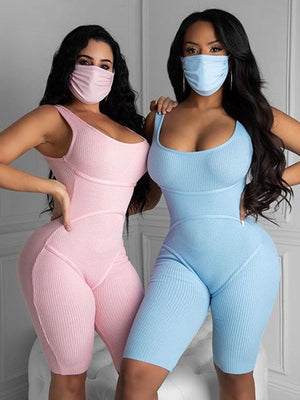 2020 summer sexy tight hip cotton jumpsuit