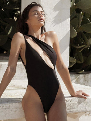 Bellelala丨2020 New Style Women One Piece Bikini Push-up Unpad Swimsuit Bathing Swimwear BeachStripe Skinny One Shoulder Fashion