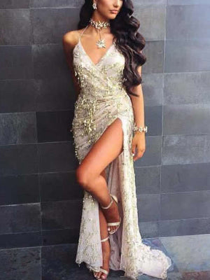 High Split Sequined Maxi Dress