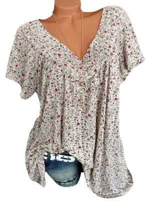 Print Floral Short Sleeve V Neck Blouse