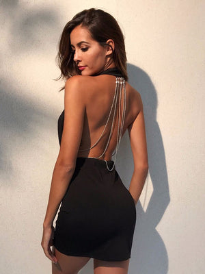 Hanging V-neck Halter Chain Dress