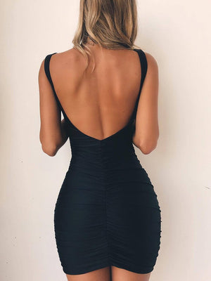 Bellelala丨2020 Backless Basic Casual Stretchy Bodycon Dress