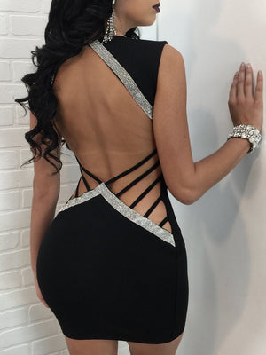 Deep V Neck Hollow Out Sequin Sexy Backless Party Dress