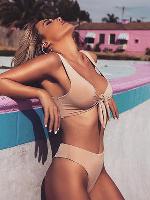 High Waist Solid Color Bowknot Swimsuit