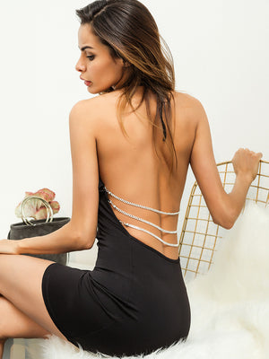 Sexy Hollow Metal Chain Backless Dress
