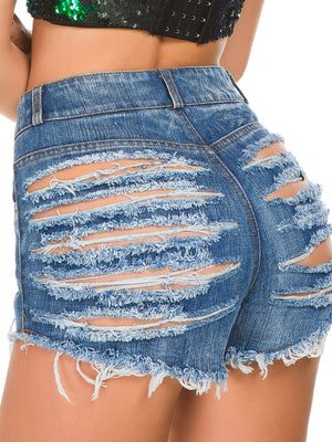 Bellelala丨High Waist Denim Ripped Shorts
