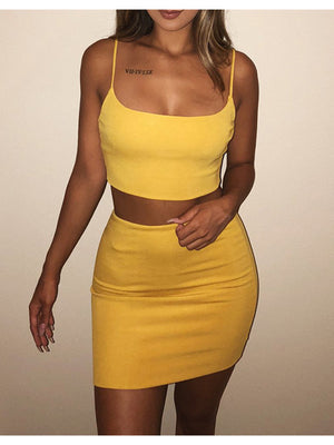 Solid Color Two Piece Bodycon Nightclub Dress
