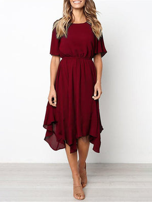 Pretty Asymmetric Short-sleeve Dress