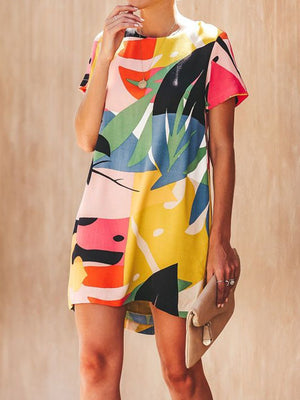Fashionable Colorful Print Short-sleeve Dress