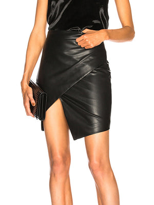 Solid Color Slim Leather Skirt