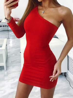 Women Fashion Sloping Shoulder Slim Party Dress