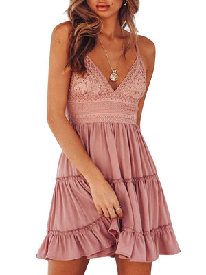 Summer Women Sweet Spaghetti Strap Dress Deep V-neck Backless Ruffle Hem Dress