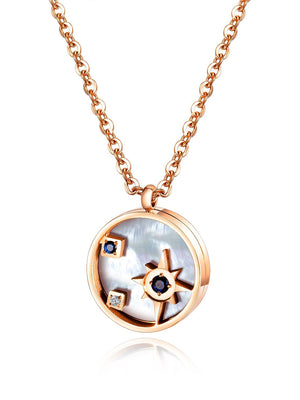 Geometric Round Necklace Titanium Steel Plated Rose Gold Diamond Clavicle Chain Lady