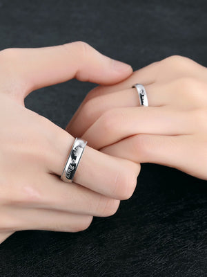 "Romantic Couple Rings ""Her King His Queen"" Stainless Steel Engraving Ring For Lover Best Jewelry Gift"