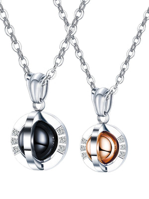 Couple Love Neaklaces Matching Set The Eerth Black & Rose Gold Pendant for His and Her Stainless Steel Chains