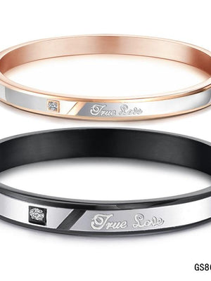 True Love Couple Bangle Set Rose Gold Black Bracelet Matching for Women Men Stainless steel Fashion Love Gift Charms