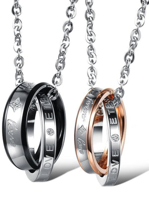 """Forever Love"" Brand Couple Necklace Set Stainless Steel Lovers Promise Jewelry"