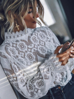 Women Sexy Long Sleeve Collar Lace Blouse