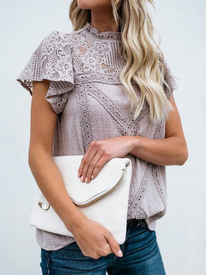 Hollow Out Lace Overlay Ruffle Top