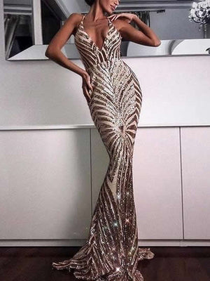 Deep V Neck Sequined Maxi Mermaid Dress