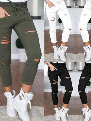 Women's Casual Elastic Waist Hollow Out Pants