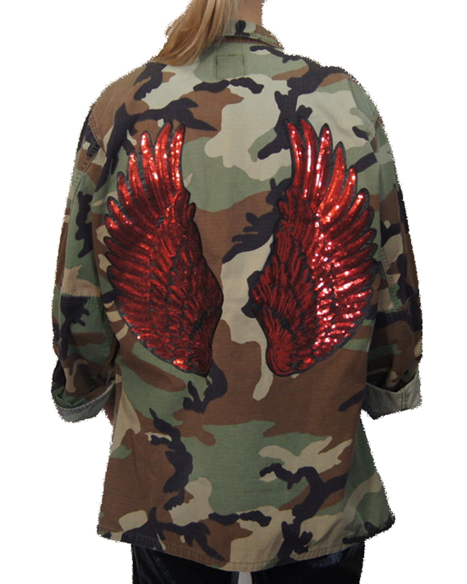 Veste army - red wings