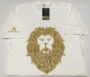 Changing the Narrative 'Lion' White/Gold T-shirt