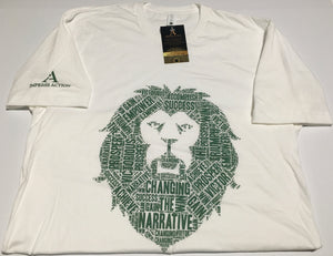 Changing the Narrative 'Lion' White/Green T-shirt