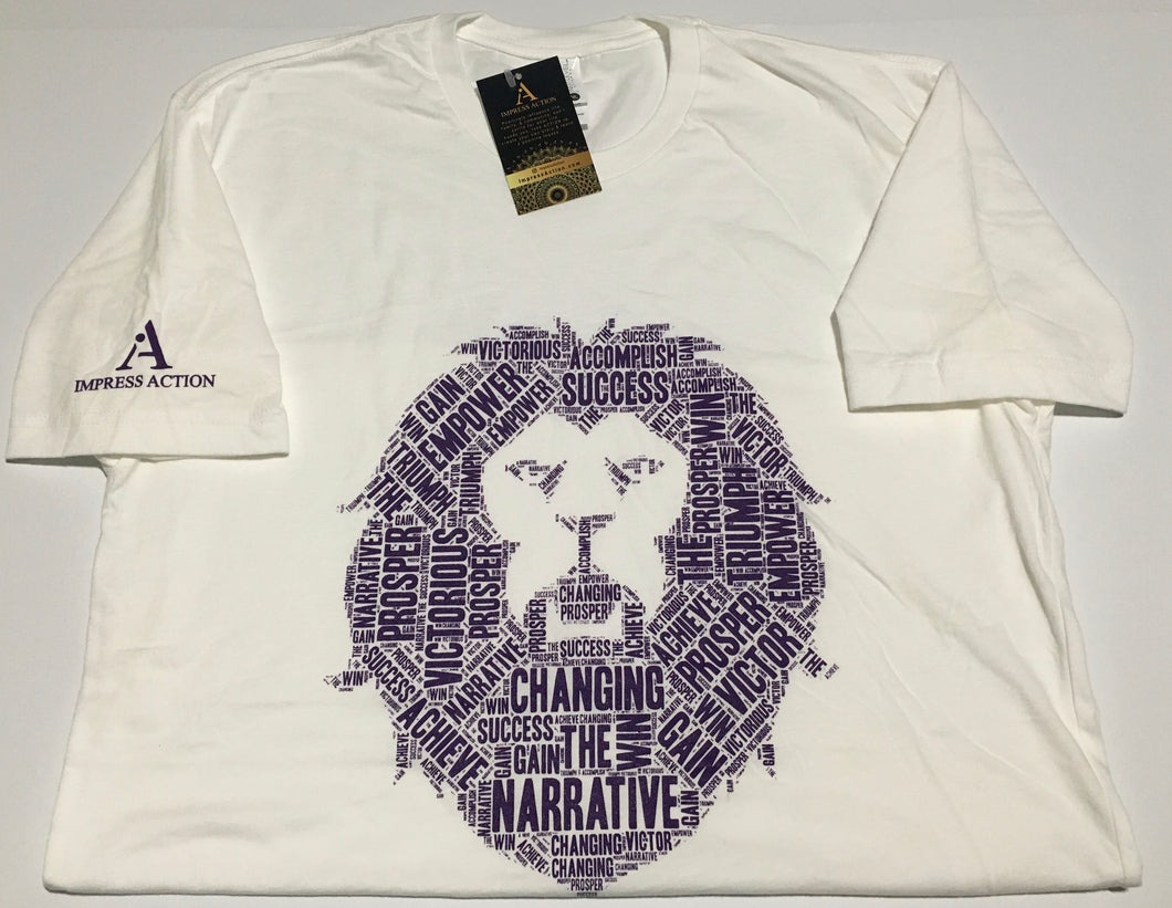 Changing the Narrative 'Lion' White/Purple T-shirt