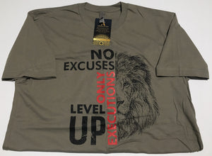 No Excuses Only Executions Level Up 'Black Lion' Warm Gray T-shirts