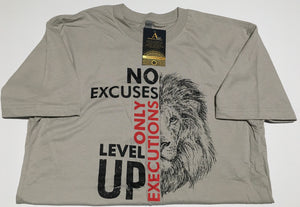 No Excuses Only Executions Level Up 'Lion' Light Gray T-shirts