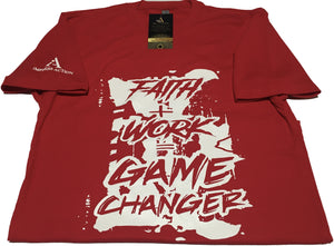 Faith + Work = Game Changer White/Red T-shirt