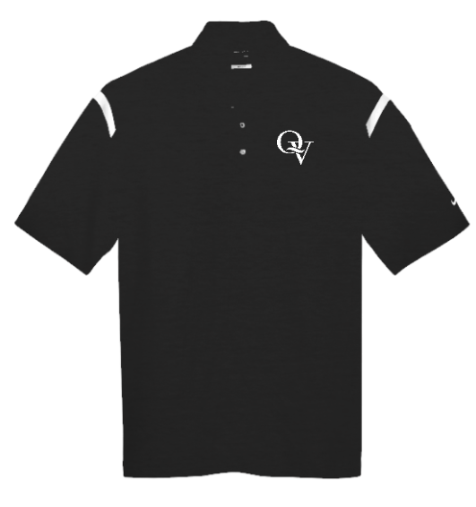 QUAKER VALLEY MEN'S EMBROIDERED NIKE DRY FIT SHOULDER STRIPE POLO - BLACK