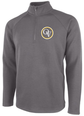 QUAKER VALLEY MEN'S EMBROIDERED QUARTER ZIP - GREY