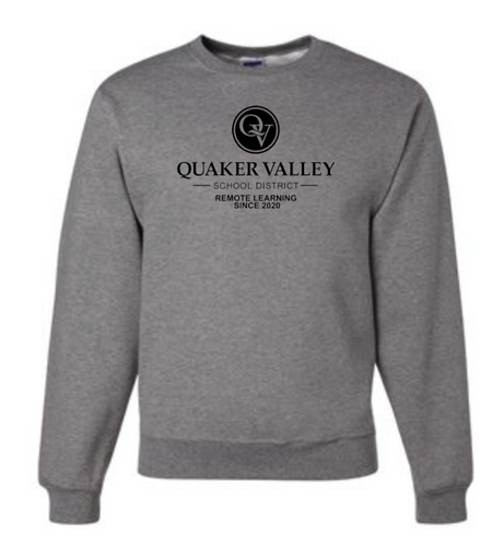QUAKER VALLEY REMOTE LEARNING SINCE 2020 YOUTH & ADULT CREW NECK SWEATSHIRT